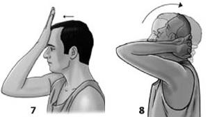 Động tác vận động đối kháng: gập đầu về phía trước, phía sau